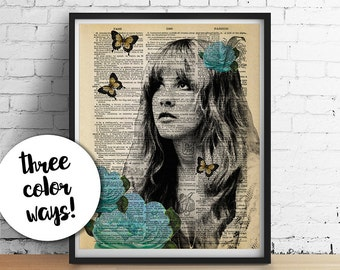 STEVIE Nicks Print, Gypsy Boho Roses Flowers, Vintage Fleetwood Mac, Wedding Gift Dictionary Art Illustration Poster, 8x10 +Various Sizes