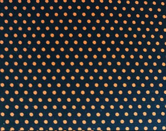 Orange Dots on Black Background, Ember Spot On for Robert Kaufman, 100% Cotton