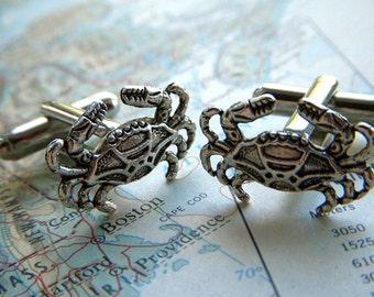 Crab Cufflinks Silver Cufflinks Nautical Cufflinks Tiny Size Popular Men's Cuff Links Accessories & Gifts Victorian Vintage Inspired