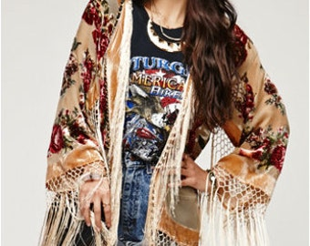SALE 20% OFF // Champagne Floral Velvet Burnout Gypsy Fringe Beaded Kimono Jacket