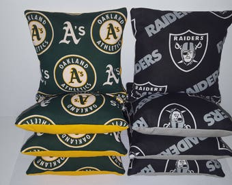 Set Of 8 Oakland A's Raiders Cornhole Bean Bags FREE SHIPPING