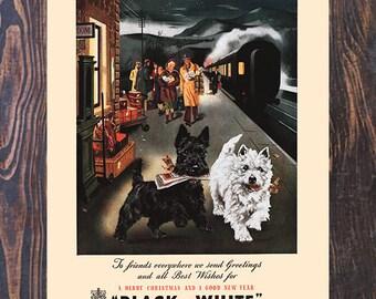 Black & White Scotch and Whisky Scotty Dog , Vintage Liquor Ad,  Drink Ad, Bar Art,  Vintage Art,  Giclee Art Print, fine Art Reproduction