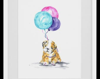 Sleepy Bulldog Puppy Personalized Watercolour Painting, Nursery Art, Kids Wall Art