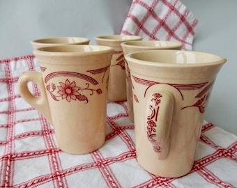 Vintage Set of Five Santone Ironstone Tall Mugs, 1945