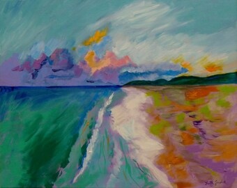 St. Croix 2, 24x30, large painting, ocean painting, sunset art, abstract seascape, abstract beach art, ocean beach art, modern beach decor