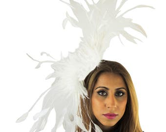 White Eagle Fascinator Hat for Weddings, Races, and Special Events With Headband