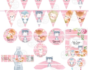 printable baby shower woodland girl