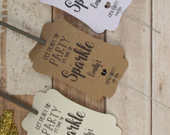 Personalised Rustic Wedding Favour Tags for sparklers-Hen party-Birthdays
