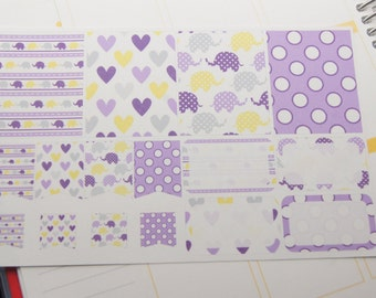 16 Planner Stickers Scrapbook Stickers Elephant Stickers Hearts Dots Purple Half Box Planner Stickers Flags  PS66 Fits Erin Condren Planners