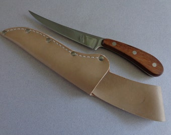 Maxam Stainless Fish Fillet Knife Special 420 Full Tang Wood handle Leather Sheath