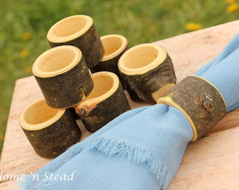 Set of (8) Branch Napkin Rings Holders, Wedding Decor, Log Home Kitchen Party Favors, Wood Table Accessories