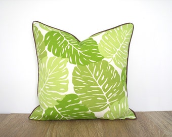 Green leaf pillow cover 18x18 botanical print, tropical outdoor pillow cover, green and brown outside cushion, large leaf outdoor pillow