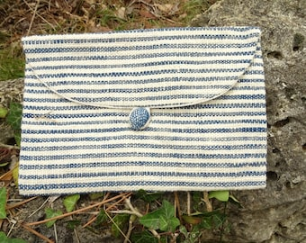 Pouch, small toiletry bag, mixed. Handmade-loom, cotton, natural Indigo pigment