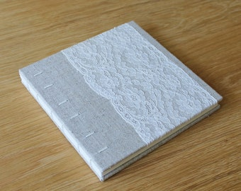 Small Coptic Bound Guest Book Journal with Natural Linen and Floral Vintage Lace