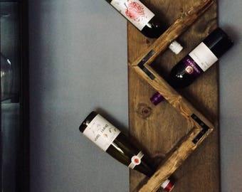 Rustic Wine rack - Wooden bottle holder wall mont