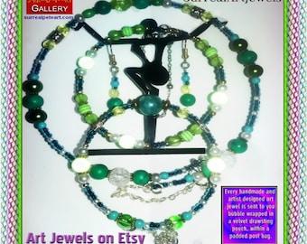 Art Jewel Necklace Choker Jewelry plus Bracelet/Earrings FREE