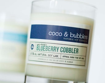 No. 146: BLUEBERRY COBBLER // Natural Soy Candle // 13 oz // Highly Scented