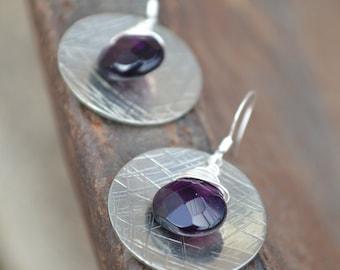 Hammered Silver Earrings, Amethyst Earrings, Amethyst Briolette, Wire Wrapped Earrings, Dangle Earrings, Hammered Metal Earrings