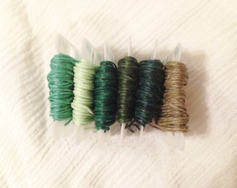 4 ply GREEN 0.82mm Waxed Irish Linen Crawford Cord 5 - 20 yards Jewelry Beading Thread Sage Mint Emerald Forest Olive