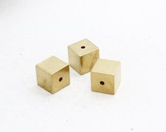 1 Pcs 16x16mm Raw Brass Cube Charms for Necklace , Brass Cube Necklace , PND6