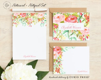 Personalized Stationery Set / Notecard and Notepad Stationary Set / Cute Women's Floral Cards // ROSECLIFF FLORALS 3-SET