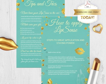 LipSense Tips & Tricks, LipSense Application Card, How To Apply, Mint and Gold, Printable Digital File, 4x6, PDF