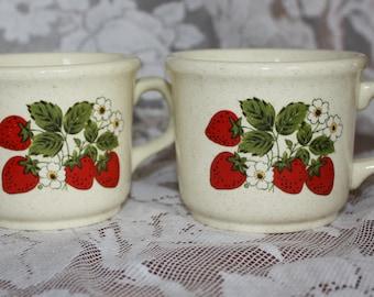 Vintage Strawberry Motif Mugs (2)