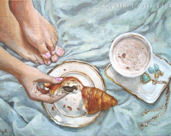 Art Print Reproduction // Remembering Paris // From Original Acrylic Painting // Food Art // 22 cm x 17 cm // Cynthia Katz