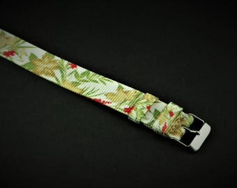 Tropical Print Slip Thru Nylon Watch strap - 18mm Timex Weekender Seiko Band