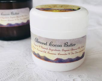 Organic Cocoa Butter, Coconut Oil & Almond Oil Lotion, enriched with essential oils.  Available in  2 oz or 4 oz