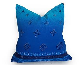Blue Ombre Pillow, Boho Pillows, Sari Pillows, 20x20, Bohemian Pillows, Floor Pillows, Repurposed Pillows, Hand Dyed Pillows, Boho Decor