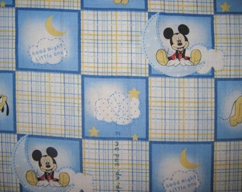 Mickey Mouse, Baby Mickey, Goodnight Blocks, 7X44, Cotton Fabric, Out Of Print, Hard To Find, Scrap, remnant