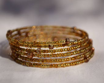Boho chic brown/gold seed beads memory wire bracelet