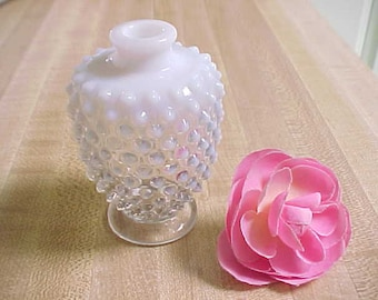 Vintage Fenton Hobnail Round Perfume Bottle in French Opalescent w/No Stopper, Mid Century Bathroom Vanity Home Decor Vase