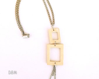 Modern geometric wooden necklace- square long necklace in natural color - modern, minimalist, contemporary handmade jewelry- eco friendly