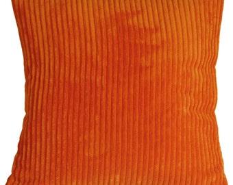 Wide Wale Corduroy 22x22 Dark Orange Throw Pillow