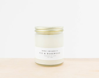 FIG & ROSEWOOD Candle, Fig Scented, Rosewood Candle, Oakmoss Candle, Soy Candle, Scented Soy Candle, Wood Wick Candle, Glass Jar Candle