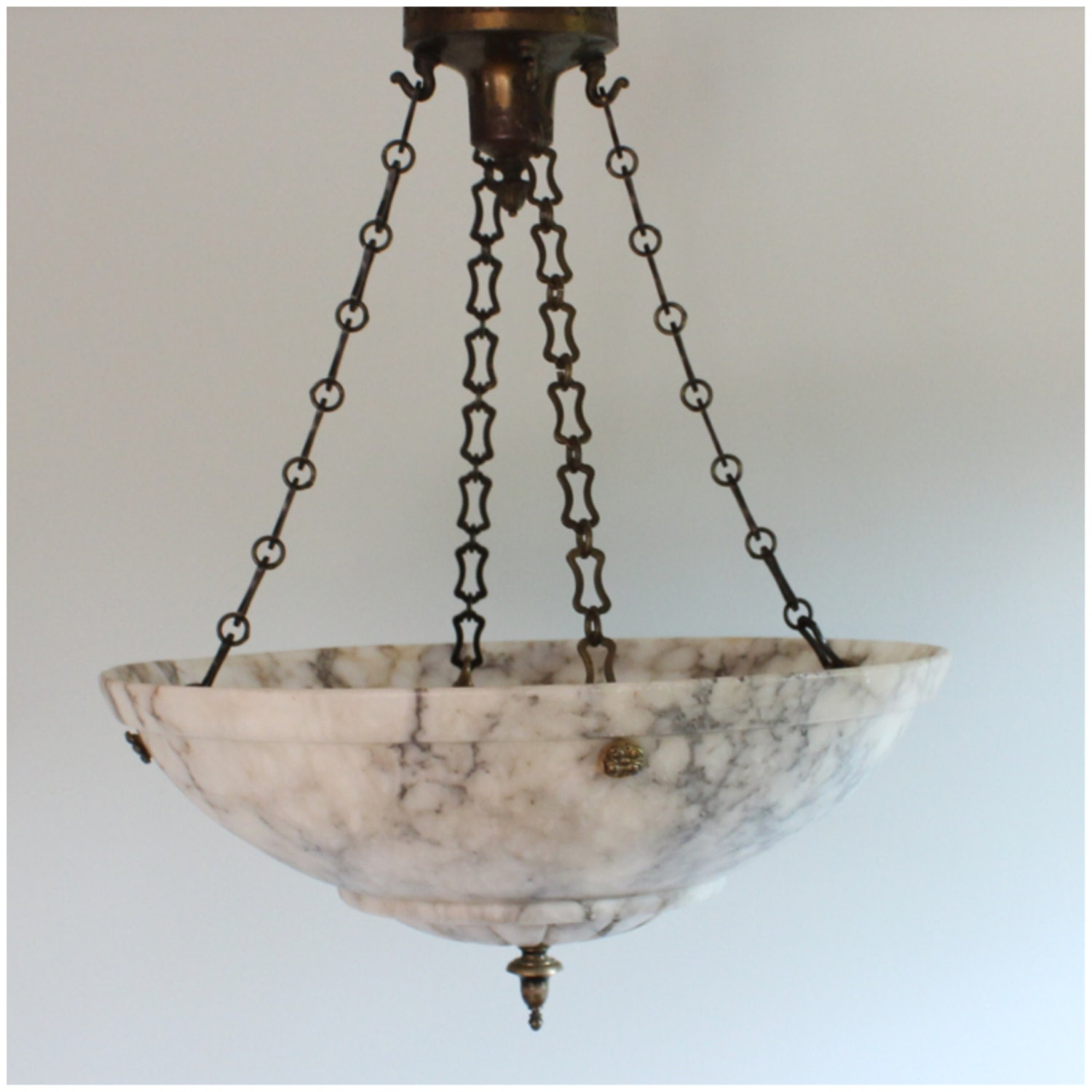 DIY112 Vintage Carved Alabaster Bowl Light Hanging Ceiling