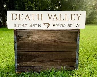 Death Valley Clemson Coordinates Sign