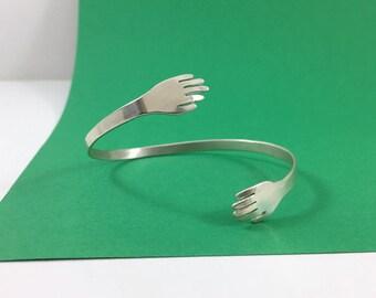 Hug Adjustable Cuff Bracelet // Sterling Silver