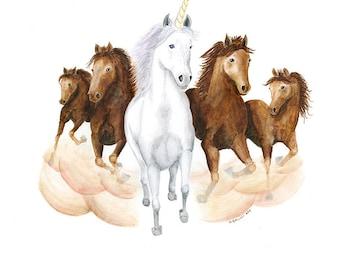 Unicorn Wall Art, Horse Painting Print, Girls Room Decor, Horse Wall Art, Horse Art, Unicorn Decor, Unicorn Nursery