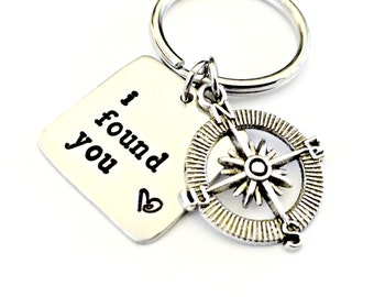 Personalized I Found You Compass Keychain - Custom Hand Stamped Key Chain - Couples His and Her Wedding Anniversary Boyfriend Nautical Gift