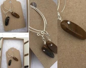 Jasper Earrings, Contemporary Gemstone Earrings, Sterling Silver Wishbone Earrings, Handmade Sterling Silver Earrings, Designer Earrings