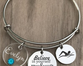 Swim Bracelet, Swimming Bracelet, Swimmer Bracelet, Swim Bangle, Swim Gifts, Swimmer Gift, Gift for Swimmer, Girls Swim Gift, Swim Jewelry