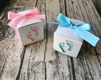 40x Baby Feet Baby Shower Favour Boxes With Ribbon Pink Baby Girl Blue Baby Boy 1st Birthday Christening Baptism Thank You White Gift Box