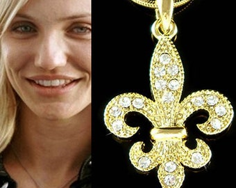 Swarovski Crystal Fleur de Lis Lys  France Paris Lily Flower Flag Gold Tone Necklace Jewelry BFF Mothers Day Christmas Wife Teacher Gift New