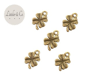 20 charms worn clover happiness 4 leaves brass 15x10mm / nature-27
