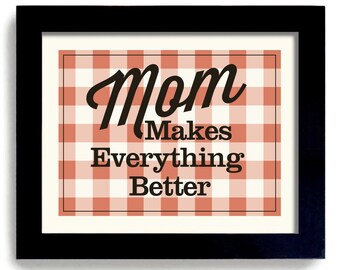 Kitchen Art Print Gift for Mom Home Cooking Quote Homemade Cooking Love Mom Checker Tablecloth Country Home Decor Farmhouse Chic Dex Mex