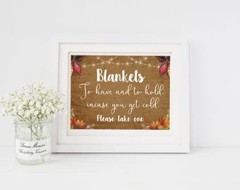 Wedding Sign/Blankets/Autumn theme