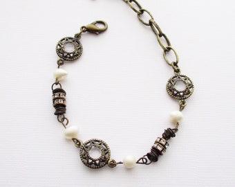 beaded pearl bracelet, beaded bracelet, pearl bracelet, freshwater pearl bracelet, gift for her, boho, owlsnroses